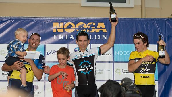 Robbie McEwen, Jonathan Cantwell, Ryan MacAnally - Podium - 2012 Subaru Men's Cycling Grand Prix Criterium; Noosa Heads, Sunshine Coast, Queensland, Australia; 03 November 2012. Photo: Des Thureson. Camera 1.