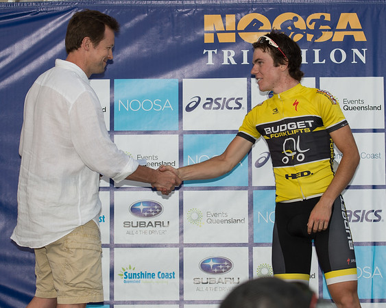 Ryan MacAnally - Podium - 2012 Subaru Men's Cycling Grand Prix Criterium; Noosa Heads, Sunshine Coast, Queensland, Australia; 03 November 2012. Photo: Des Thureson. Camera 1.
