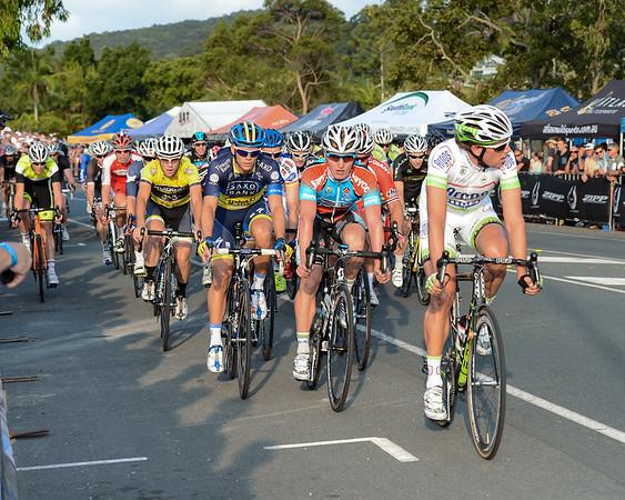 Jonathan Cantwell, Ryan MacAnally, Koen de Kort, - 2012 Subaru Men's Cycling Grand Prix Criterium; Noosa Heads, Sunshine Coast, Queensland, Australia; 03 November 2012. Photo: Des Thureson. Camera 1.