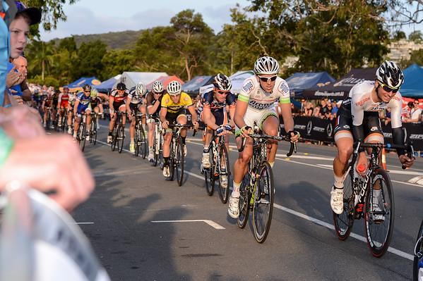 Koen De Kort, Ryan MacAnally - 2012 Subaru Men's Cycling Grand Prix Criterium; Noosa Heads, Sunshine Coast, Queensland, Australia; 03 November 2012. Photo: Des Thureson. Camera 1.