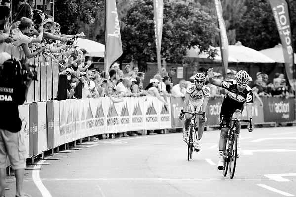 "Alternate Processing: ""Creative - B&W High Contrast""  - Heinrich Haussler wins, just ahead of Koen De Kort - Subaru Noosa Men's Cycling Grand Prix Criterium - 2011 Super Saturday at the Noosa Triathlon Multi Sport Festival, Noosa Heads, Sunshine Coast, Queensland, Australia; 29 October 2011."
