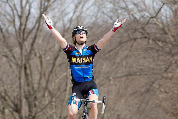 Marian's Alder Martz salutes after winning the Men's A race.