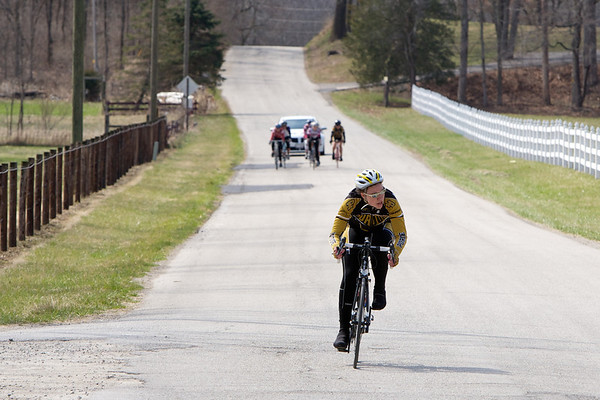 Rachel Sinders put in an attack that she held up the hill into the finish of the Women's B/C race.