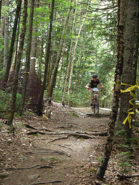 "Krista burning through the ""downhill"" section!"