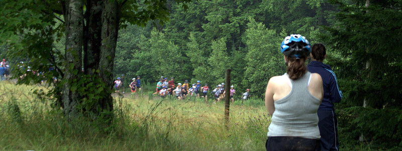 A Mass start helps thin out the 80 starting racers.