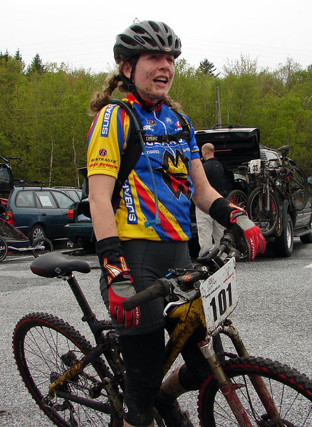 Krista after her race. Looks like she ate dirt too!