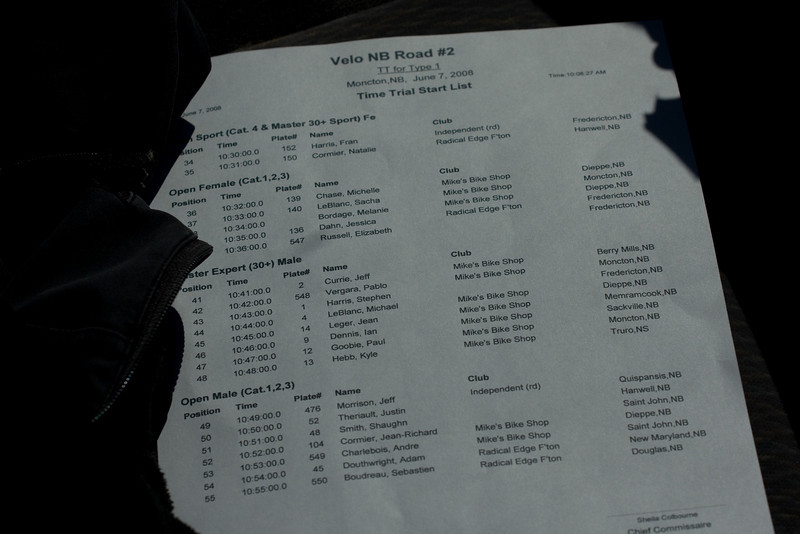 the start list.  we'd hope to get more tri/du-athletes racing but the day seemed to be in conflict with some riders agendas for preparation for other upcoming events. One day we'll get all the fast people out on course at once.