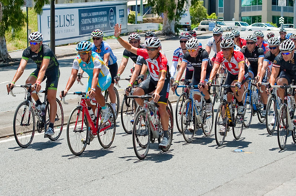 "The front of the group, led by Robbie McEwen, Allan Davis & Lance Armstrong, approaches the finish  - Queensland Ride Relief, led by Lance Armstrong, Robbie McEwen & Allan Davis; Brisbane, Queensland, Australia; Monday 24 January 2011. Photos by Des Thureson - <a href=""http://disci.smugmug.com"">http://disci.smugmug.com</a>"