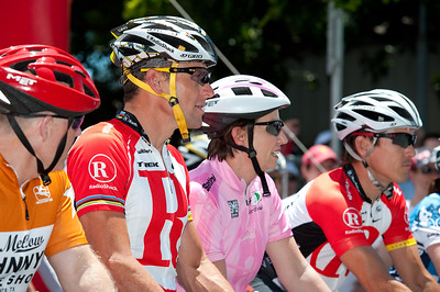 L-R: Lance Armstrong, Queensland Premier Anna Bligh, Robbie McEwen - Queensland Ride Relief, led by Lance Armstrong, Robbie McEwen & Allan Davis; Brisbane, Queensland, Australia; Monday 24 January 2011. Photos by Des Thureson - http://disci.smugmug.com