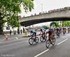 Spectators on Waterloo Bridge watch the action