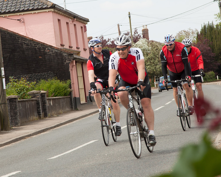 Our cyclists riding into Pulham Market