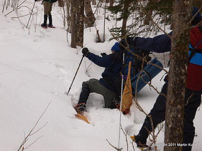 Snow crust is unpredictable and trip exacts its toll many times.