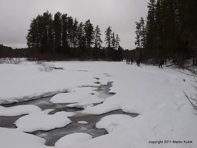 Skirting one of the last big ponds before Shrike Lake.