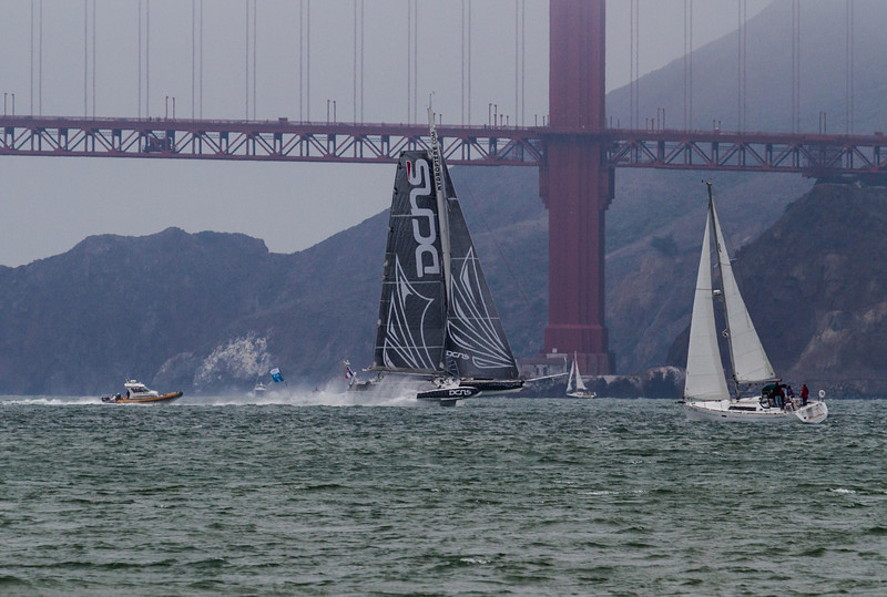 This incredibly fast sailing hydroplane ripping across the Golden Gate gave a taste of what was to come.  (C) George Hamma 2012