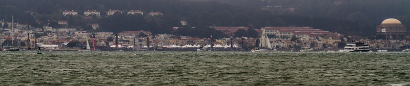 We could see the AC45 boats moored at Marina Green in San Francisco.  (C) George Hamma 2012
