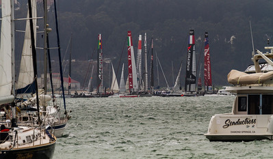 Getting ready for the first fleet race start with 11 boats.  (C) George Hamma 2012