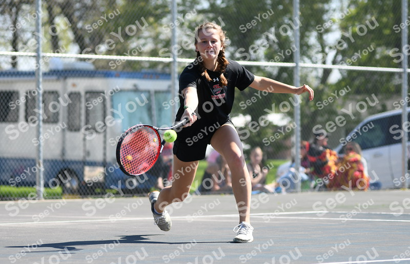 -Messenger photo by Britt Kudla<br /> Brooke Erickson of Fort Dodge compete against Sioux City North during Class 4A Districts on Wednesday at Dodgers Courts