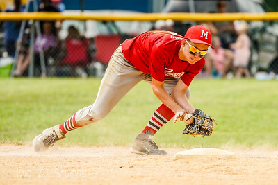Gaven Ridgway from Messner Plumbing and Heating (Bellwood-Antis Little League) makes a play at shortstop during the first round of the Dean Patterson Little World Series at Williamsburg.