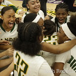 Vanden Vikings celebrate their win in a game Vs Mater Dei Monarchs at the Girls Basketball State Championships at Golden 1 Center in Sacramento,Saturday, (Josh Redsun/Daily Republic)