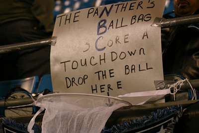 Behind the south end zone is a handy deposit net for Panthers to drop off their footballs after scoring.