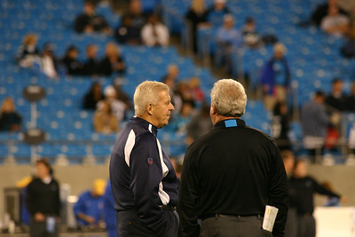 Cowboy Coach Bill Parcells meets with Carolina Panthers Coach John Fox for a pregame conversation at midfield.