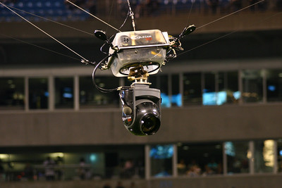 A close-up of the Cablecam at Bank of America Stadium. It's really an amazing device.
