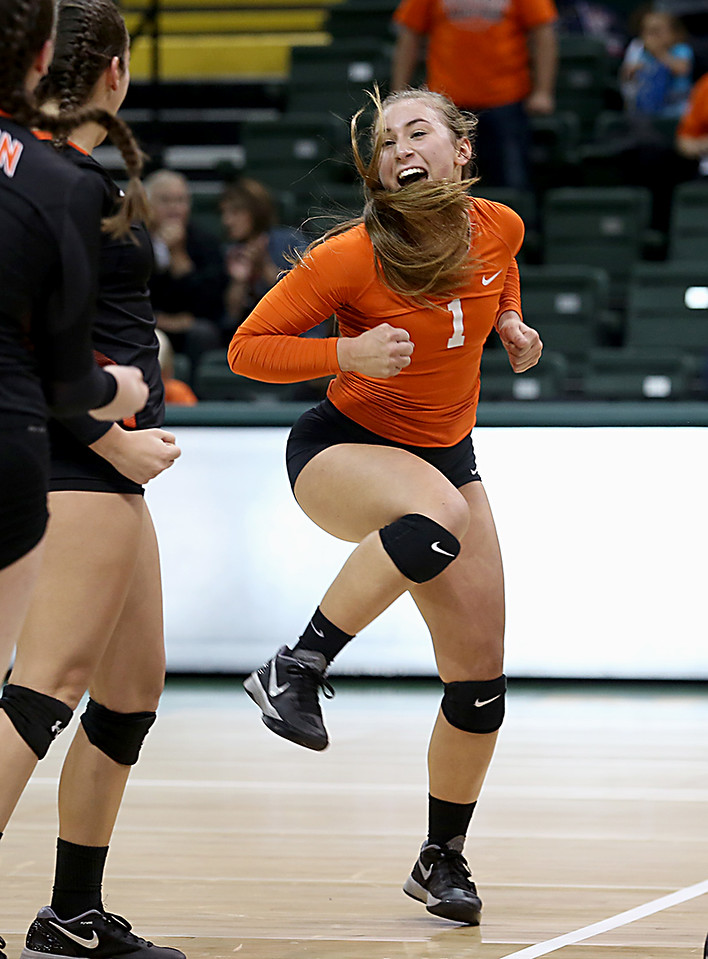 E.L. Hubbard / Special to GateHouse Ohio Media<br /> Dalton DS Kelsey Shoup celebrates a point against Jackson Center during their Division IV semifinal at Wright State's Nutter Center in Fairborn Friday, Nov. 11, 2016.