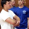 KEN YUSZKUS/Staff photo.    The Danvers High School's 2015 football team captains Sam Vitale, left, and Dan Lynch .      5/15/15
