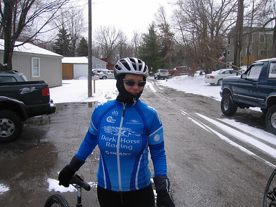 Luckily, Kerry decided to add  windbreaker later -- ride time temp 25 degrees....