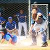 6-22-14<br /> Kokomo Glass vs. Hollingsworth Lumber<br /> Matt McCauley slides to home safely before Kokomo Glass' catcher, Nathan Carpenter, can catch the ball.<br /> Kelly Lafferty | Kokomo Tribune