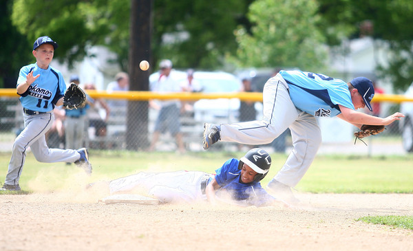 6-22-14<br /> Kokomo Glass vs. Hollingsworth Lumber<br /> Nathaniel Liddell of Hollingsworth Lumber slides into second as Kokomo Glass' Jake Ward tries to get the ball from behind Brad Brown who misses the catch to second.<br /> Kelly Lafferty | Kokomo Tribune