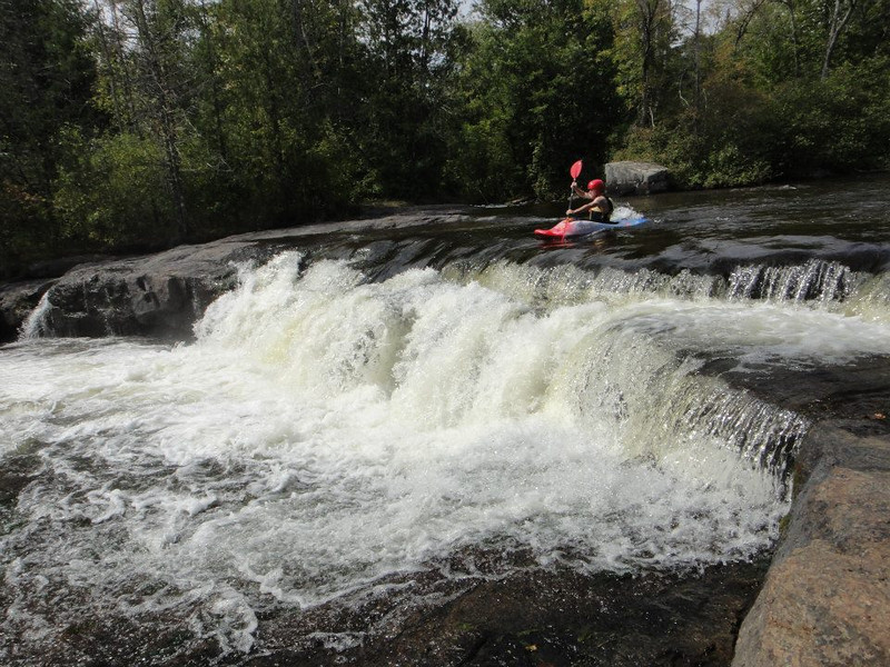 Wolf River in Wisc - in kayak, heading for the falls.