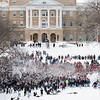 On Dec. 9, 2009, hundreds of students converged on Bascom Hill at the University of Wisconsin-Madison to participate in a massive snowball fight. The event called for members of the university's southeast residence halls to square off against members of the lakeshore residence halls, but was also open to the public. University classes were canceled and the campus was closed when a winter storm left 14-plus inches of snow. (Photo by Jeff Miller/UW-Madison)