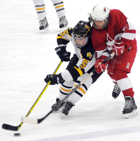 Willmar's Ellissa Weiler chases Mankato East/Loyola's Maddie McCargar up the ice during the third period Saturday at All Seasons Arena.
