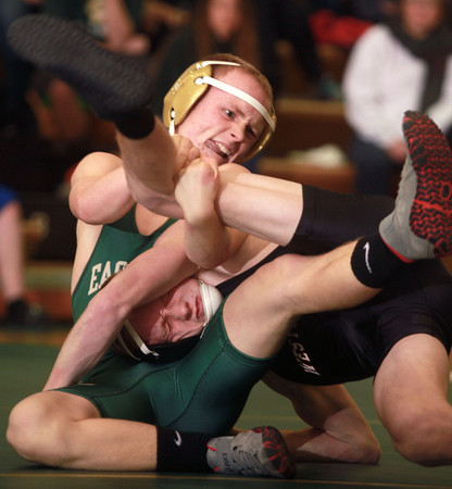 12-12-13<br /> Eastern vs. Western wrestling<br /> Eastern's Tanner Reed and Western's Caleb Maddox<br /> KT photo   Kelly Lafferty