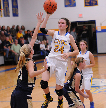 CHBC's Ava Paruleski drives through the lane for a basket in her team's 52-44 loss to Teutopolis