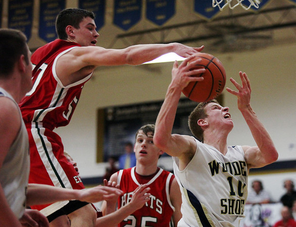Teutopolis' Derek Smith attempts a shot but is blocked by Effingham's Clark Williamson during the Wooden Shoes' 45-36 victory at Teutopolis. Smith led the scoring with 16 points.