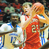 Effingham's Jake Stombaugh battles in the post in the Hearts' 48-41 loss to top-seeded and defending champion Cahokia at the Centralia Holiday Tournament. Stombaugh had 12 points and five rebounds.
