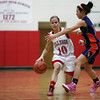 St. Anthony's Morgan Gardewine dribbles down the court during the Bulldogs' 44-41 victory over Oakland/Tri-County.