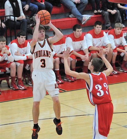Altamont's Garrett Ziegler puts up a jumper in Altamont's win against St. Anthony at the Vandalia Holiday Tournament. Ziegler scored 15-straight points for the Indians at one point and finished with a game-high 29.