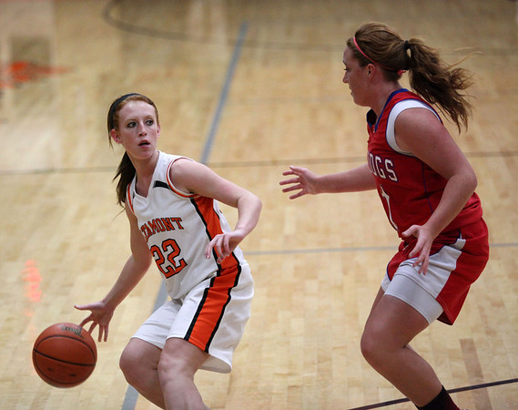 Altamont's Danielle Vaughn dribbles the ball past St. Anthony's Lexie Niebrugge at Altamont. The Lady Indians fell 17-37 to the Lady Bulldogs.
