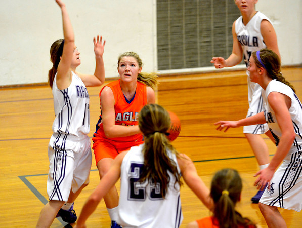 Newton's Brooke Koebele dribbles into the heart of the Arcola defense during the Dieterich Holiday Tournament.