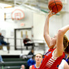 St. Anthony's Emma Richards shoots a one-handed layup against Olney at the Mattoon Holiday Tournament