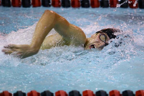 Western High School's Josh Everetts swimming against Carroll High School Thursday,  Dec. 4, 2014.<br /> Tim Bath | Kokomo Tribune