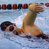 Western High School's Clair Casner swimming against Carroll High School Thursday,  Dec. 4, 2014.<br /> Tim Bath | Kokomo Tribune