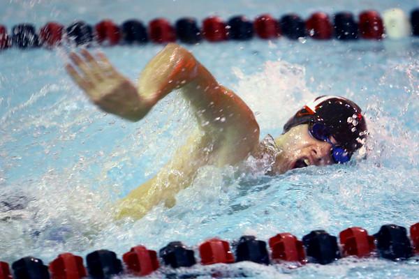 Western's Conner Hill swimming the 100 freestyle swimming against Carroll HS Thursday,  Dec. 4, 2014.<br /> Tim Bath | Kokomo Tribune