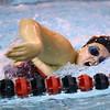 Western High School's Megan Hawk swimming against Carroll High School Thursday,  Dec. 4, 2014.<br /> Tim Bath | Kokomo Tribune