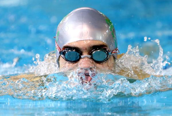 Eastern High School's Andrew Droke swimming the 100 Breast on Tuesday,  Dec. 9, 2014. <br /> Tim Bath | Kokomo Tribune