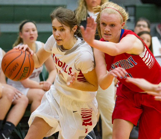 St. Anthony's Abbie Schmidt tries to keep Madelyn Hosick of Vandalia out of the lane at the Mattoon Holiday Tournament.