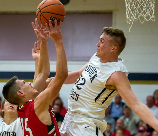 Teutopolis' Lane Belleville, right, raises up to meet Effingham's Landon Wolfe during his shot attempt. Belleville not only proved to be a handful on defense, but the senior forward finished with 15 points and five rebounds.